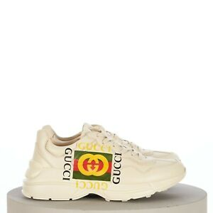 GUCCI 890$ Men's Ivory Leather Rhyton Gucci Square Logo Sneaker