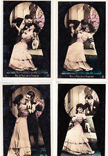 Tinted French Postcards:ROMANCE (Through the keyhole)-set of 4, Mint*