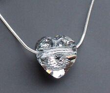 Echt Silber Schlangen-Kette mit Swarovski® Kristall Herz glitzernd + Schmuck Box