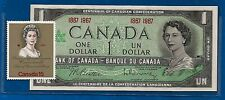 CANADA 1867 1067 Canadian one 1 DOLLAR BILL NOTE with stamp