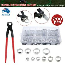 New 200Pcs Stainless Steel Single Ear Hose Clamps W/Single Ear Clamp Crimper Kit