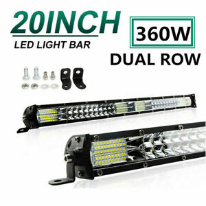 20inch 360W LED Light Bar Dual Row Spot Flood Combo Work SUV Offroad ATV 4WD UTE