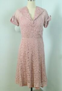 Vintage 30s Rose Pink Lace A-LIne Day Dress Prairie Short Sleeves Full Skirt S