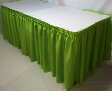 14' POLYESTER PLEATED TABLE SKIRT skirting Trade show Wedding Apple Green