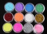 Hot 12 Mix Color Nail Art Acrylic Glitter Powder Dust Tips Decoration Tool