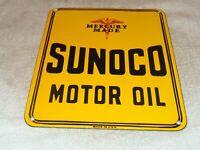 "VINTAGE ""SUNOCO MERCURY MOTOR OIL"" 12"" PORCELAIN METAL GASOLINE PUMP PLATE SIGN"