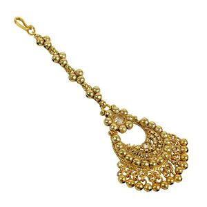 Indian Maang Tikka Jewelry Bollywood Wedding Gold Plated Forehead Bridal Jewelry