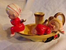 Vintage Christmas Angels Fairies Candle Finger Lamp Holder Kreiss Two Elfs