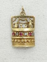 14K Yellow Gold Ruby Aquamarine Gem Bar Charm Pendant 4.9g A4599