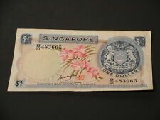 Singapore Bank Note $1 Dollar Paper Money Orchids Series Serial #B21 483665