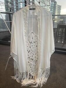 Womens Sheer Cover Up, Beachwear, Size 8 - 12, White, Crochet