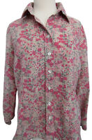 Coldwater Creek Pink Green Floral Button Top PL Petite Large Texture Long Sleeve