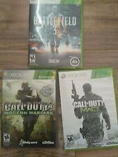 CALL OF DUTY MODERN WARFARE and MWF3 and Battlefield 3 XBOX 360 Game Bundle