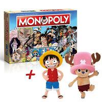 Monopoly One Piece Brettspiel Gesellschaftsspiel +Plüschfigur 30cm Ruffy Chopper