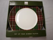 222 FIFTH WEXFORD GREEN lot 4 dinner plates NEW! Christmas Holiday tartan plaid