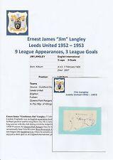 JIM LANGLEY LEEDS UNITED 1952-1953 RARE ORIGINAL HAND SIGNED CUTTING/CARD