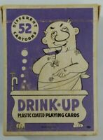 Vtg Drink-Up Plastic Coated Playing Cards Advert Moose Lodge Huntington,IN