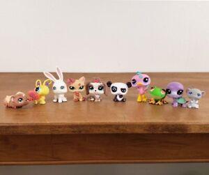 Littlest Pet Shop Lot of 10 Figures: Lhasa Apso Dog, Cat, Ostrich, Panda, Bunny
