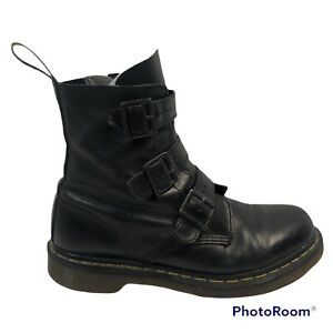 Dr Doc Martens Blake Leather Blake Boots Women's Size 10 With Buckles