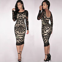 Women Sexy Bodycon Bandage Evening Cocktail Party Long Sleeve Lace Pencil Dress