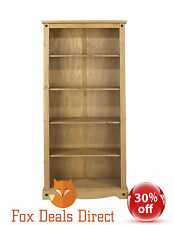 Bookcase Pine PREMIUM Waxed Corona Tall Large 80cm Wide Rustic Mexican Display