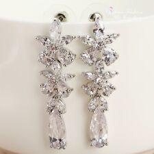 18k White Gold Plated Simulated Diamond Flower Long Teardrop Bridal Earrings