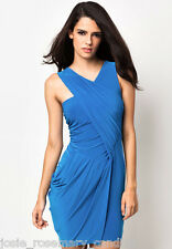 River Island UK 10 Blue Wrap-Effect Grecian Drape Dress Stretchy/Slinky New
