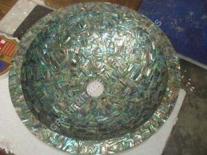 "15"" Exclusive Marble Round Sink Pauashell Inlay Random Stone Kitchen Decor E297"