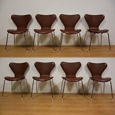 Brown Leather and Chrome Dining Chairs - Set of 8 Mid Century