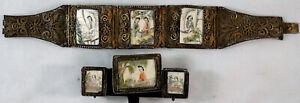 Antique Chinese Bracelet Brooch & Earrings Filigree Vermeil Gilt Silver Ladies