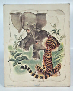 Vintage Playskool Little Golden Book The Saggy Baggy Elephant Frame Tray Puzzle