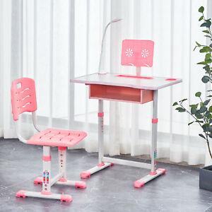 Kids Study Desk Chair Set Height Adjustable Children Table Drawer Lamp Pink2