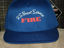 FOREST SERVICE FIRE EMBROIDERED FLEXFIT FLAT BILL HAT NAVY NEW