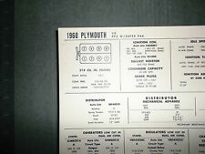 1960 Plymouth PP2 w/Super Pak 318 CI V8 SUN Tune Up Chart Great Condition!
