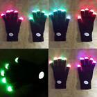 7 Modes Glow Finger Lighting LED Flashing Gloves Light Up Full Finger Mitten New