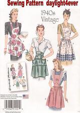 WOMEN VINTAGE Apron Retro 1940's Sewing Pattern 1221 Simplicity Size S-L NEW #r