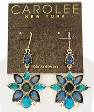 NEW CAROLEE 'Central Park Boathouse' Aqua Blue Flower Drop Gold Tone Earrings