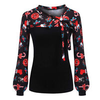 Christmas Fashion Women Ladies Casual Xmas Print Long Sleeve Shirts Tops Blouse