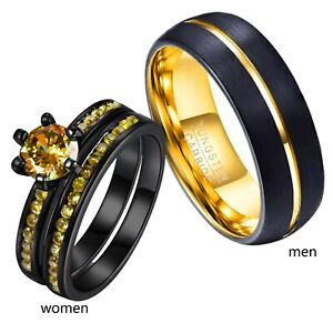 Couple Rings Gold Cz Womens Ring Black Ring Sets Tungsten Mens Wedding Band