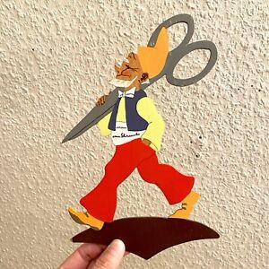 Märchen-Holzbild ALT Datum 1965 24cm Mertens-Kunst Schneider Schere Figur Dekor