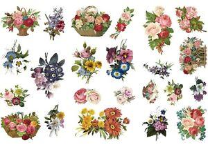 VINTAGE FLOWER BOUQUET STICKERS Floral Scrapbook Journal Card Craft Decoration