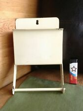 Vintage Metal Rack Toilet Paper Holder Enamel Wall Pocket Basket Small Shelf