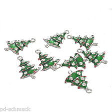 PD 10 Vergoldet Weihnachtsbaum Christbaum Charms Anhänger Emaille Strass 26x18mm