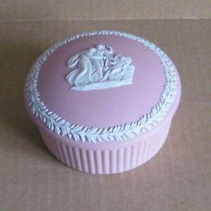 Wedgwood Jasperware Pink Large Cupid Reclining Round Box