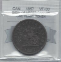 **1857**Bank of Canada, One Penny Token, Coin Mart Graded**VF-30**