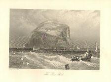 Scotland, The Bass Rock, Seascape, Fishing Boats, Vintage, 1875 Antique Print.