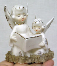 Vintage Double Angel Figurine Holds Open Hymnal Porcelain Lace 1960s Japan