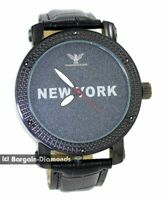 mens black diamond New York clubbing watch black dial leather man