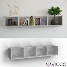 VICCO Wandregal 90 cm Beton für CD DVD Deko Spiele Bücher Medienregal Regal