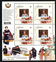 QUEEN Elizabeth ll Diamond Jubilee 4/6 MiniSheet of 4 CANADA 2012 MNH 2516i
